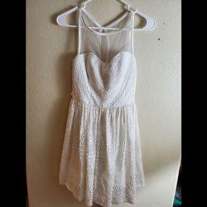Ruby Rox White Lace Open Back Tie Boho Flare Dress